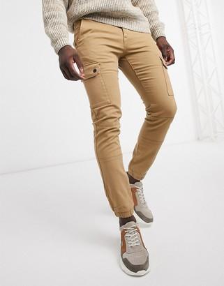 Celio skinny cargo pants in tan