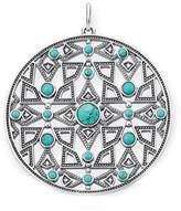 """Thomas Sabo Ethno Amulet"""" White Diamond/Simulated Turquoise 17 cm Pendant"""