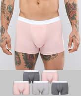 Asos Trunks In Pink & Grey 5 Pack