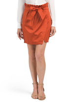 Juniors Tie Waist Wrap Mini Skirt