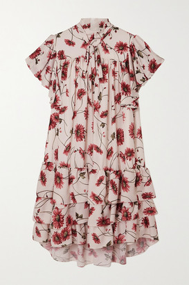 Adam Lippes Pussy-bow Tiered Floral-print Crepe De Chine Mini Dress - White