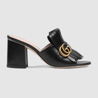 Gucci Leather mid-heel slide with DoubleG