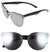 Quay Women's Higher Love 62Mm Mirrored Cat Eye Sunglasses - Black/ Silver Mirror