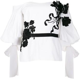 Marchesa floral appliqué blouse