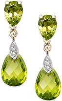 Macy's Peridot (6 ct. t.w.) and Diamond Accent Drop Earrings in 14k Gold