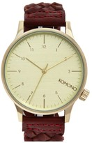 Komono Men's 'Winston' Round Dial Woven Leather Strap Watch, 40Mm