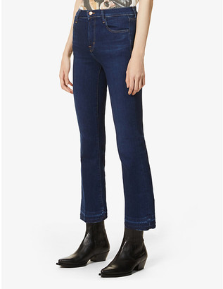 J Brand Ladies Blue Cotton Selena Flared Bootcut High-Rise Jeans, Size: 24