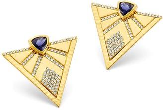 BUDDHA MAMA 20kt Yellow Gold Diamond Triangle Stud Earrings