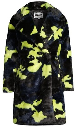Apparis Jahaira Neon Double-Breasted Faux-Fur Coat