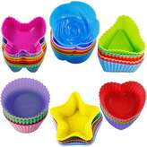 42 pcs Silicone Cupcake Baking Cups, SENHAI Non-Stick Heat Resistant Cake Molds Ice Cube Molds for Making Muffin Chocolate Bread - 6 Shapes