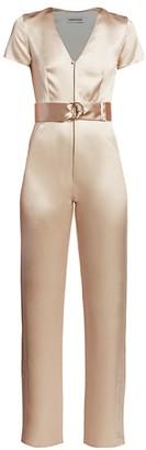 Adriana Iglesias Vice Silk Belted Jumpsuit
