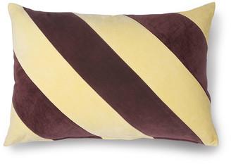 HKliving - Striped Cushion Velvet Yellow/Purple - velvet