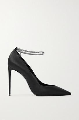 Saint Laurent Zoe Chain-embellished Satin Pumps - Black
