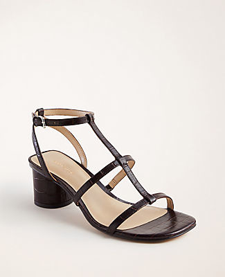 Ann Taylor Holland Embossed Leather Block Heel Sandals