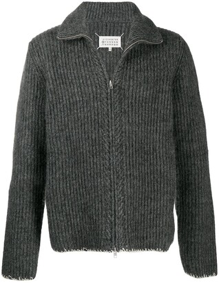 Maison Margiela Ribbed-Knit Zipped Cardigan
