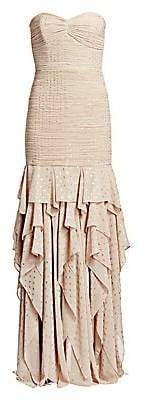 Halston Women's Strapless Pleated Metallic Ruched & Ruffled Column Gown