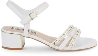 Karl Lagerfeld Paris Tori Embellished Leather Block Sandals
