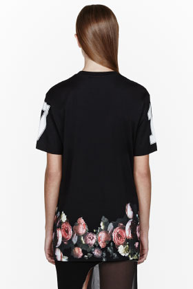 Givenchy Black Flower Border T-Shirt