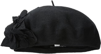 San Diego Hat Company Women's Wool Beret Hat with Self Flowers