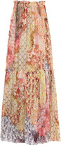 Just Cavalli Printed cotton and silk-blend maxi skirt