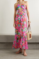 Thumbnail for your product : PatBO Gabi Cutout Floral-print Crepon And Stretch-jersey Halterneck Maxi Dress - Purple