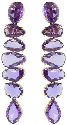 Bayco 18kt Rose Gold Free-Shape Natural Purple Sapphire Earrings