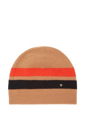 Burberry Logo-plaque Icon-stripe Merino-blend Beanie Hat - Camel