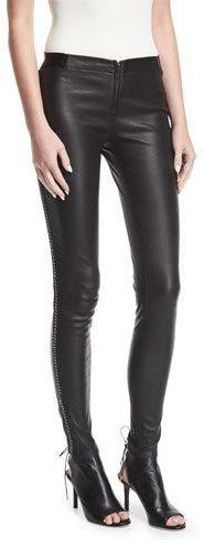 Alice + Olivia Maddox Front-Zip Leather Leggings w/ Chain Detail