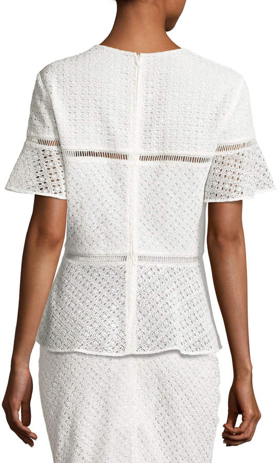 Escada Eyelet Peplum Short-Sleeve Top, Off White