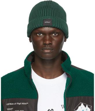 Off-White Green Wool Knit Beanie