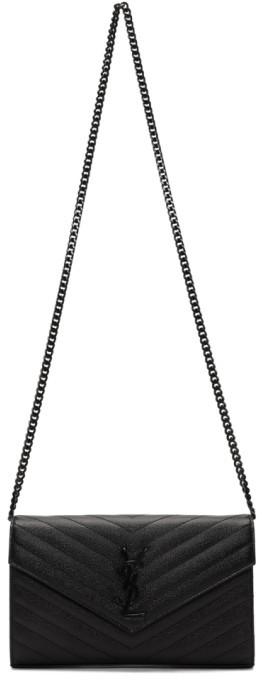 Saint Laurent Black Monogramme Envelope Chain Wallet Bag