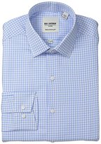Ben Sherman Men's Houndstooth Shirt with Spread Collar - Blue