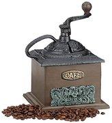 Relaxdays Deco Vintage Coffee Grinder, Wood, Cast Iron, Hand Crank, Drawer, HxWxD: 20 x 20 x 15 cm, Dark Brown
