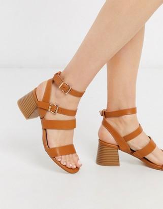 Miss Selfridge strappy heeled sandals in tan