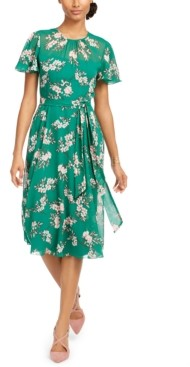 Harper Rose Floral-Chiffon A-Line Dress