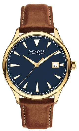 Movado Heritage Calendoplan Leather Strap Watch, 42mm