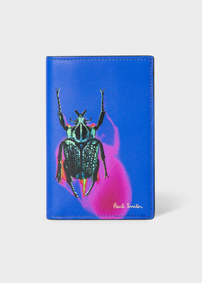 Paul Smith Men's Royal Blue 'Photographic Beetle' Print Leather Credit Card Wallet