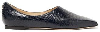Jimmy Choo Joselyn Crocodile-effect Leather Ballet Flats - Navy