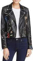 Blank NYC BLANKNYC Budding Romance Embroidered Faux Leather Moto Jacket