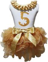 Petitebella Birthday Dress Neck Ruffle 5th Top Stars Bow Khaki Petal Skirt Set Nb-8y