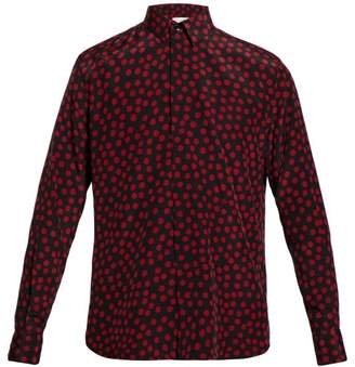 Saint Laurent Polka-dot Silk Shirt - Mens - Black Red