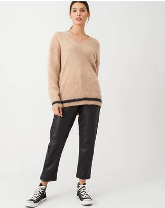 Calvin Klein Brushed Tipping V-Neck Jumper - Macaroon
