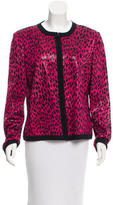 St. John Cheetah Print Sequined Cardigan