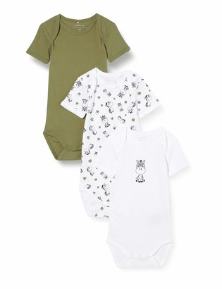 Name It Baby Boys' Nbmbody 3p Ss Loden Green Zebra Noos Rompers 50