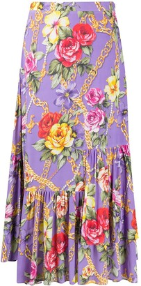 Boutique Moschino Floral Chain Print Maxi Skirt