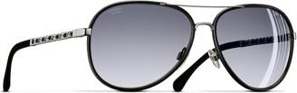 Chanel Polarised Pilot Sunglasses CH4219Q Black/Silver