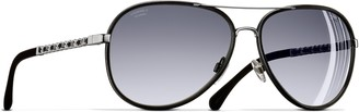 Chanel Polarised Pilot Sunglasses CH4219Q Black/Silver