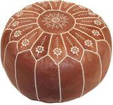 Casablanca Market Starburst Leather Pouf, Chestnut