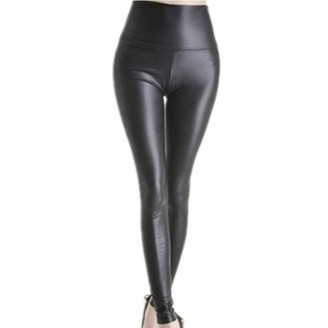 Jiegorge Plus Size Pants Women Leather Pants High Waist Large Size Stretch Slim Slimming Leggings
