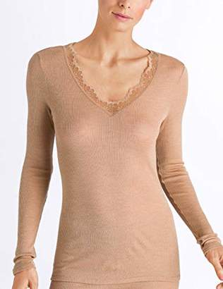 Hanro Women's Woolen Lace Shirt 1/1 Arm Thermal Top,22 (Size: Large)